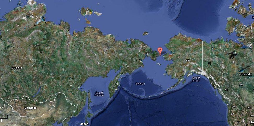 Ice Floats In The Bering Sea Somewhere Near Siberia And Alaska - Google maps alaska